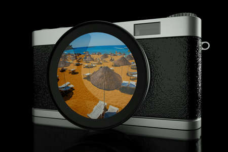 reflaction: a 3d render of antigue photo camera with vocation background as a reflaction on a lens glass