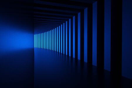 dark room: blue light in a modern room with columns