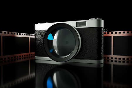 a 3d render of photo camera with film reel photo