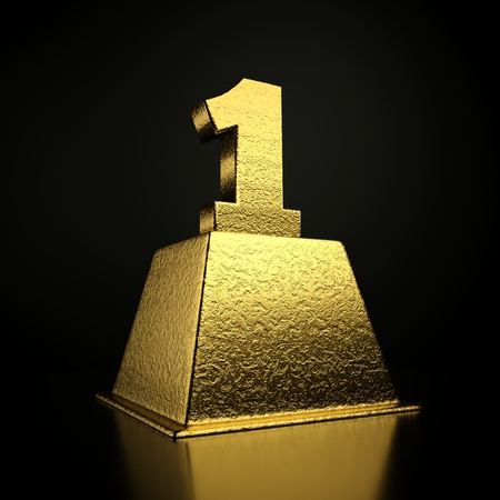 one to one: a gold number on a pedestal