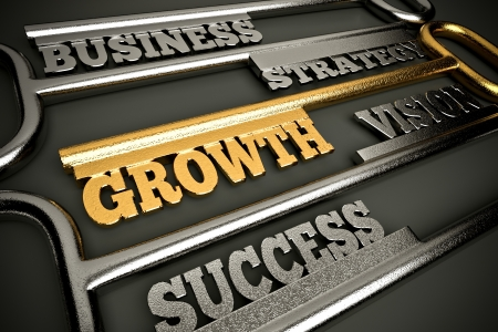 strong growth: a golden keys with words as a background, business growth concept