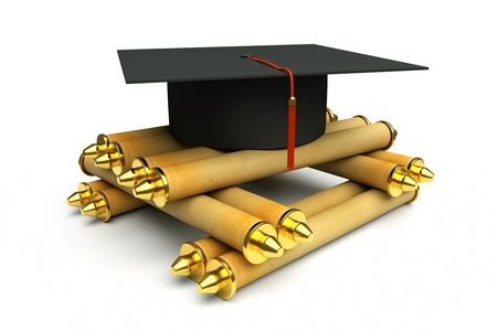 credential: a graduation cap with heap of scrolls isolated on white
