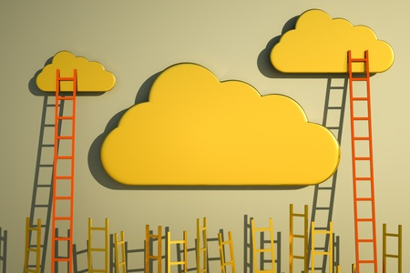 a competition concept, golden clouds with ladders Stock Photo - 13570701