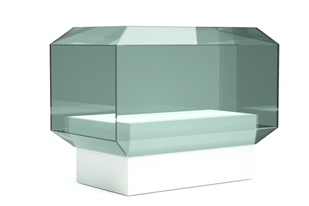 an isolated glass showcase in a room photo