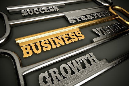 strong growth: a golden keys with words as a background, business  concept
