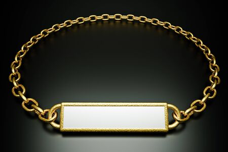a gold pendant with blank place for word on black photo