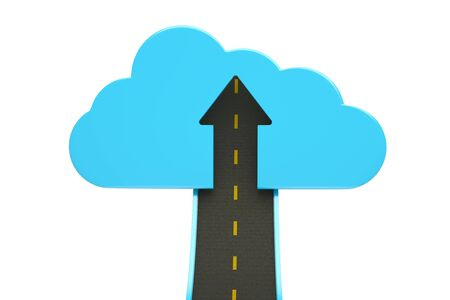 road up with blue cloud and arrow, business succes concept Stock Photo - 13670589