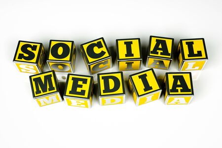 a words  social media  in a cubes on white Stock Photo - 13670656
