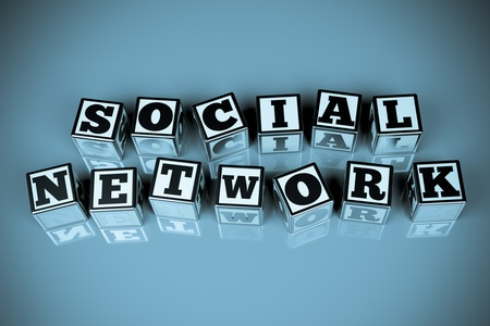 a words  social network  in cubes photo