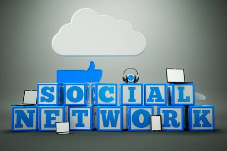 a words  social network  in cubes Stock Photo - 13670681