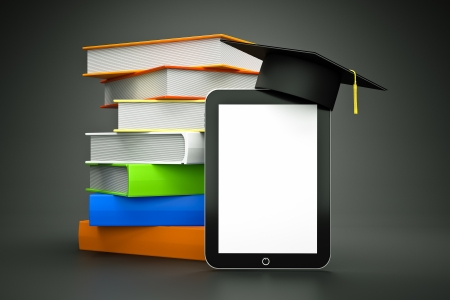 a tablet computer with graduation hat with white screen as a education concept photo