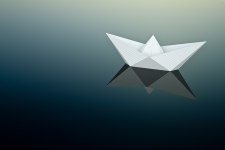 a paper boat on water with sky reflaction photo