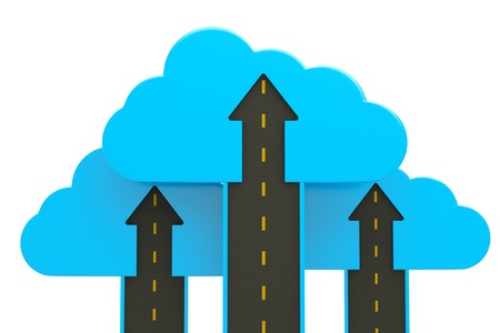 road up with blue cloud and arrow on white, business success concept Stock Photo - 13760370