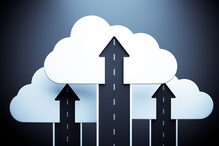 road up with white cloud and arrow on blue, business success concept Stock Photo - 13760374