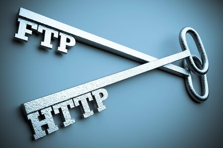 ftp: a two silver keys with words  ftp  anhd  http  as a concept of protection of internet connection Stock Photo
