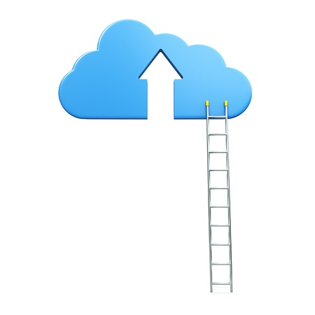 wooden stairs: a competition concept, cloud with ladders on white