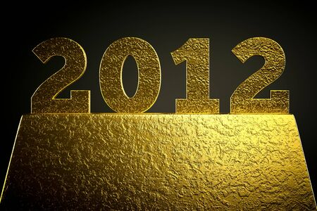 a golden 2012 simbol on black Stock Photo - 13930360