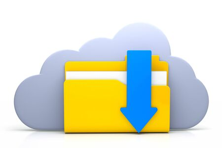 3d render of folder with arrow and cloud as a cloud computing concept Stock Photo - 13930269