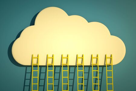 a competition concept, clouds with ladders on blue Stock Photo - 13930299