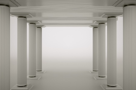 a columns on grey as a background Stock Photo - 13930330