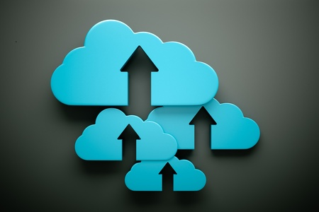 an upload icon with cloud on grey Stock Photo - 13930329