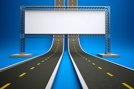information highway: a 3d render of road up with billboard Stock Photo
