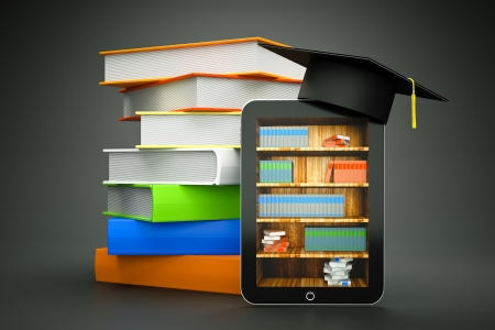 doctorate: a tablet computer with graduation hat and bookcase on screen as a education concept