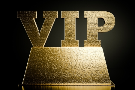privilege: a word VIP on a podium