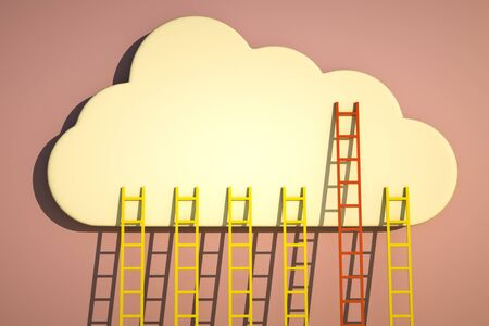 business challenge: a competition concept, clouds with ladders on blue