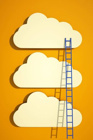 rise to the top: a competition concept, clouds with ladders on blue
