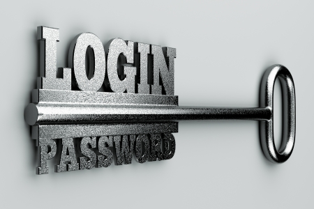 a single key with two words login and password as a concept photo