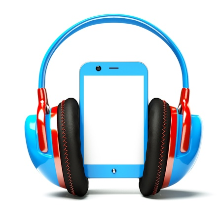 a creative cellphone with headphones isolated on white, portable audio concept photo