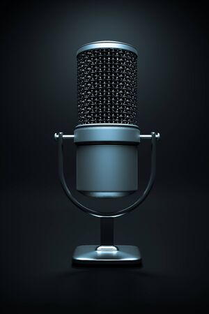 a single microphone on white Stock Photo - 14095352