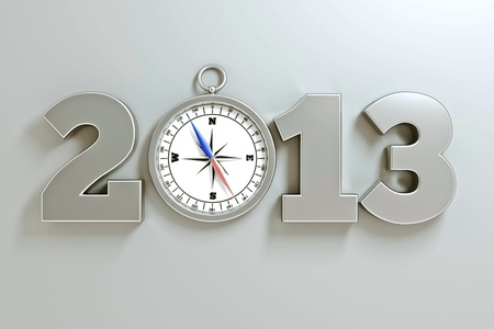 a compass as a part of concept, choose you direction on 2013 year photo
