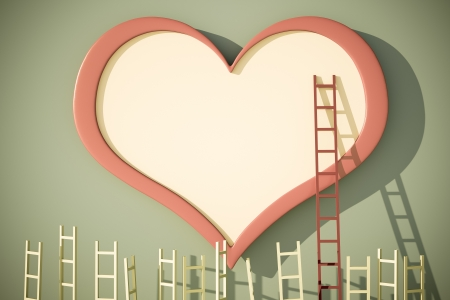 a love competition concept with heart shape and ladders Stock Photo