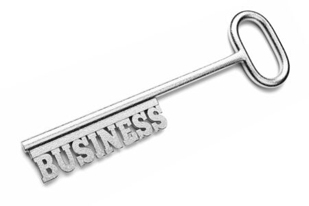 a silver key with word isolated on white, business concept photo