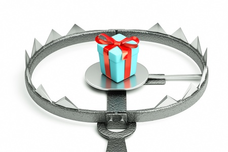 a 3d render of metal trap with gift box Stock Photo - 14485732