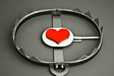 a 3d render of metal trap with red heart, love concept Stock Photo - 14573498