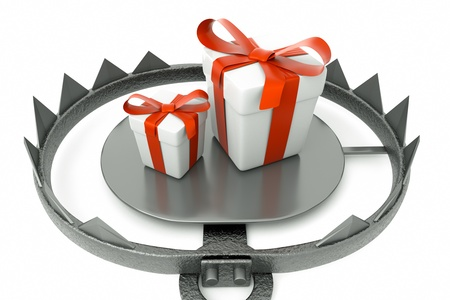 a 3d render of metal trap with gift box Stock Photo - 14771475