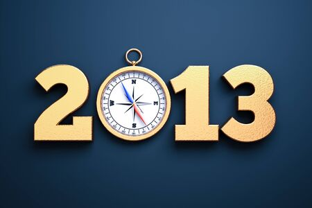 a compass as a part of concept, choose you direction on 2013 year Stock Photo - 14888277