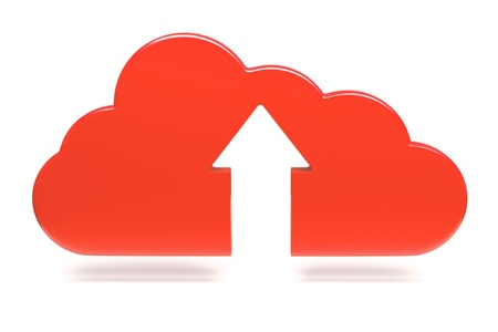 an upload icon with cloud on white Stock Photo - 14888264