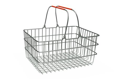 a 3d render of supermarket basket isolated on white photo