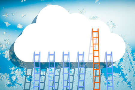 struggle: a competition concept, clouds with ladders on blue
