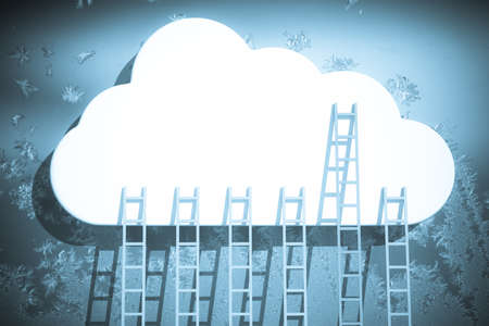 a competition concept, clouds with ladders on blue Stock Photo - 14979414