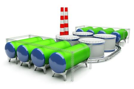 destilacion: Modelo 3d de la fábrica de aceite