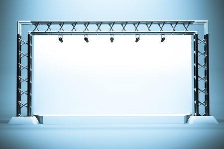 metal base: a concert stage with metal frame Stock Photo