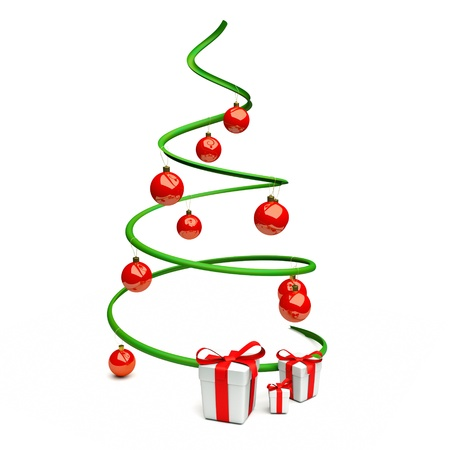 adornos navideños: un árbol de conexiones aisladas en blanco