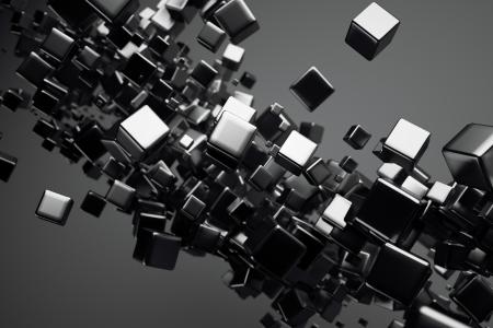 figuras abstractas: un negro cubos fondo abstracto