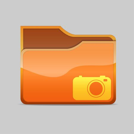 a   folder icon with camera inside Stock Photo - 16484467