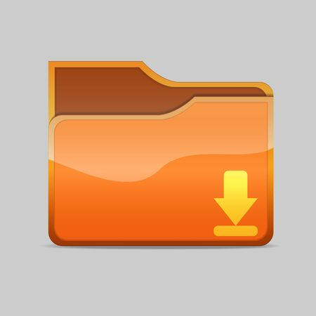 a  folder icon with download sign inside Stock Photo - 16484363